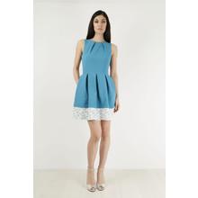 Closet Turquoise Cream Trim Dress