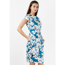 Closet BLUE WHITE FLORAL TIE WAIST DRESS