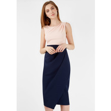 Closet NUDE AND NAVY 2 IN 1 CONTRAST DRAPE SKIRT DRESS