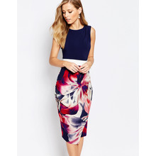 Closet NAVY AND FLORAL 2 IN 1 CONTRAST TIE BACK DRAPE DRESS
