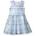 Yumi Girls Organza Stripe Heart Cut Out Dress