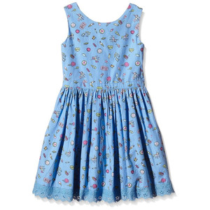 Yumi Girls Pier Conversational Dress (Blue) Dress