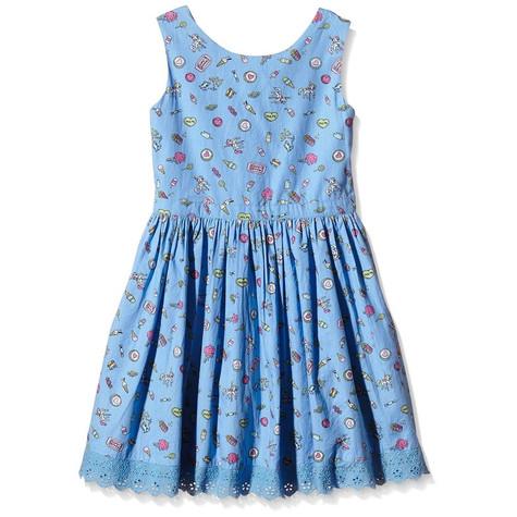 Yumi Girls Pier Conversational Dress (Blue) Dress