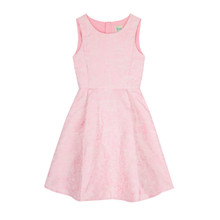 Yumi Girls Pink Metallic Floral Jacquard Dress