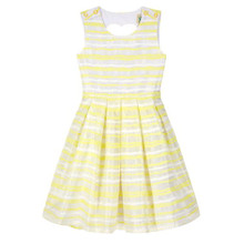 Yumi Girls Yellow Organza Stripe Heart Cut Out Dress