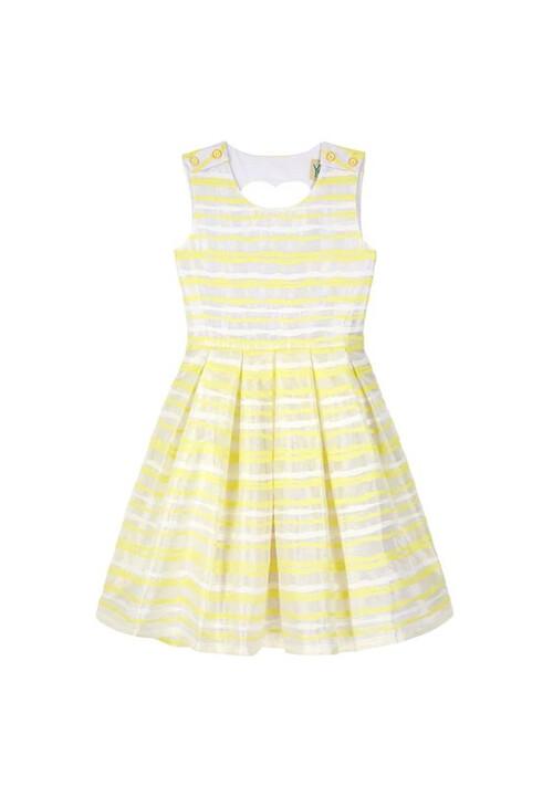Yumi Girls Yellow Organza Stripe Heart Cut Out Dress