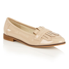 Dolcis Beige Patent Flat Loafer with Fringe Detail