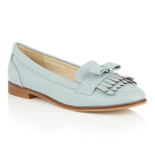 Dolcis Blue Flat Loafer with Fringe Detail