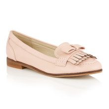 Dolcis Pink Flat Loafer with Fringe Detail