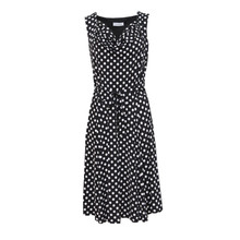 Zapara Black & Ecru Spot Print Dress