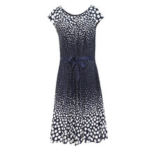 Zapara Navy Bird Print Pattern Dress