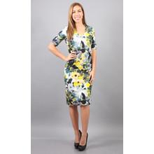 Donna Ricco Yellow Floral Print V-Neck Dress