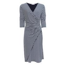 Zapara Navy & Cream Wrap Dress