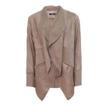 SophieB Cognac Faux Leather Drape Jacket