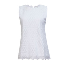 Zapara White Scallop Sleeveless Top