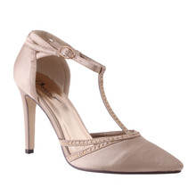 Barino Beige High Heel T Strap ShoeBeige High Heel T Strap Shoe