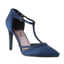 Barino Navy High Heel T Strap Shoe