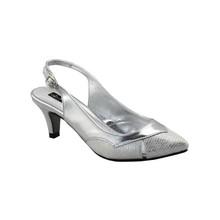 Jaclin Silver Kitten Heel Sling Back Court Shoe