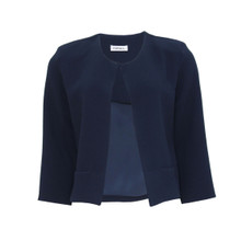 Zapara Navy Crepe Short Jacket