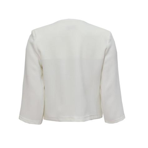 Zapara Off White Crepe Short Jacket