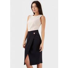 Closet NUDE NAVY 2 IN 1 WRAP BUTTON SKIRT DETAIL DRESS