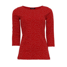 Twist Cute Round Neck Red & White Polka Dot Top