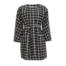 Zapara Black Check Gold Pattern Coat