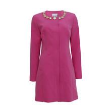 Zapara Pink Jewel Neckline Detail Coat