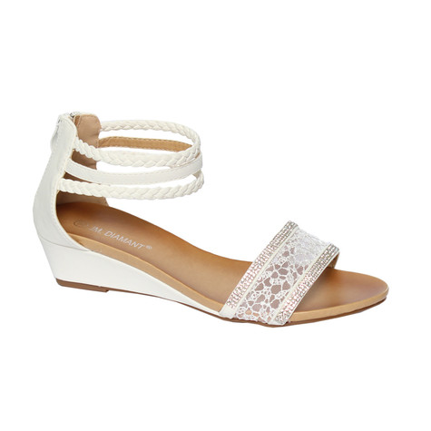 e2756da4c73 Jin Ma White Low Wedge Sandals with Rope Detail