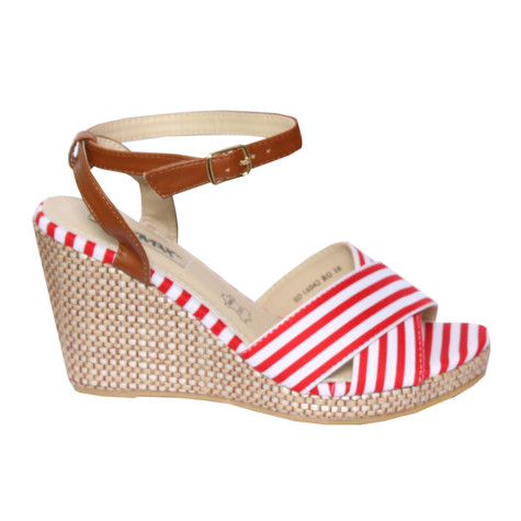 Raxmax Red Wedge Sandal Stripe Detail