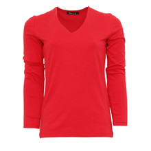 Twist Red V-Neck Long Sleeve Top
