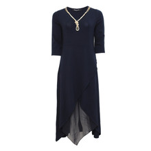 SophieB Navy Chiffon Hem Necklace Accessory Dress