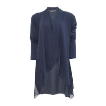 SophieB Navy Drape Front Top