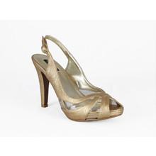 Jaclin Gold Sling Back Peep Toe Court Shoe