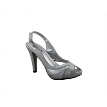 Jaclin Silver Sling Back Peep Toe Court Shoe