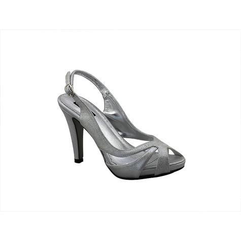 Jaclin Silver Sling Back Peep Toe Court Shoe