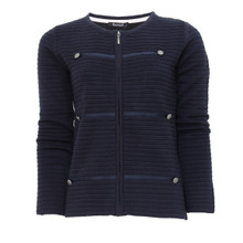 Twist Navy Silver Button Zip Knit Jacket