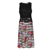 Zapara Black Floral Stripe Dress