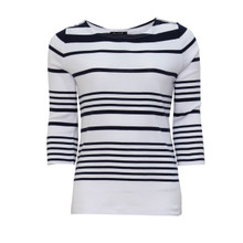 Twist White & Navy Stripe Top