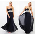My Michelle Silver Sequence Long Mesh Navy Dress