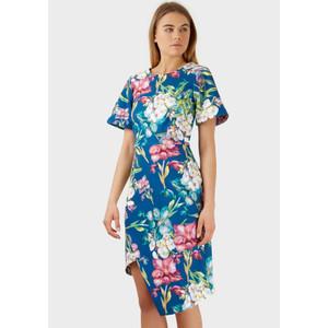 Closet BLUE FLORAL PRINT GATHERED SKIRT DRESS