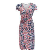 Zapara Blue Coral Wrap Dress
