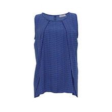 Zapara Royal Blue White Pattern Sleeveless Top