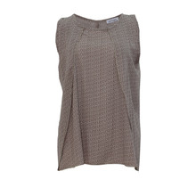 Zapara Beige White Pattern Sleeveless Top