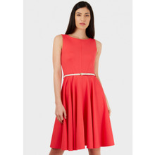 Closet CORAL V BACK BELTED FLARED SKATER DRESS