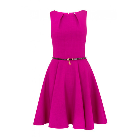 Closet  BLOOMSBURY PINK FLARED BELTED DRESS