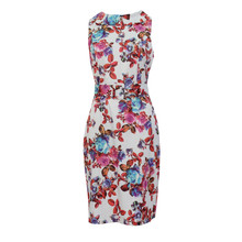 Zapara Multi Print Floral White Dress