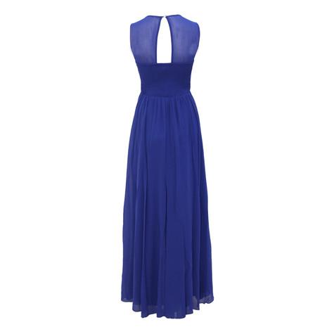 Max And Lola Royal Blue Long Mesh Shoulder Detail Dress
