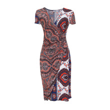 Zapara Navy & Red Wrap Dress