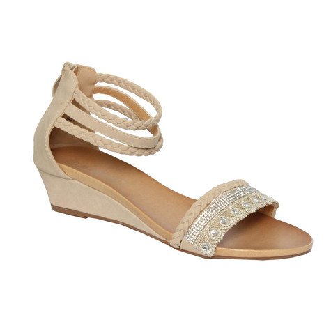 6494eafc9 Jin Ma Beige Wedge Sandal With Diamond Front Detail